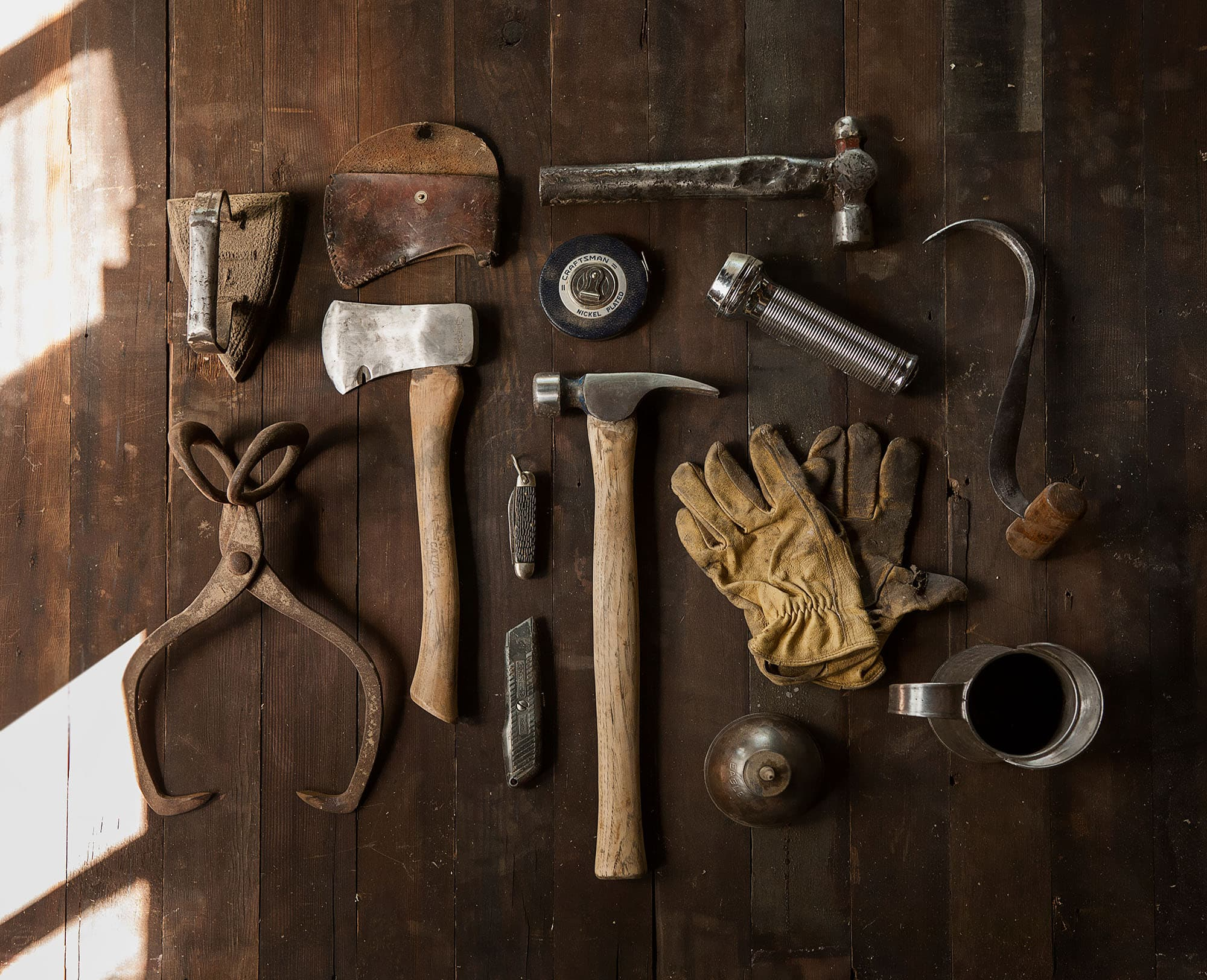 Tools laid out on floor